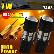2x Resistor Amber/Yellow 7443 7W LED Turn Signal Light High Power Lamp 7440
