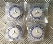 MERCEDES Benz lega ruota centro tappi 75mm Badge Emblema MOZZO Blu x 4,1 Set