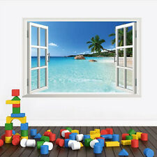3D Window Beach Sea View Wall Sticker Removable Vinyl Art Decal Mural Home Decor