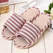 Soft Cotton Women Ladies Canva Hemp House Indoor Outdoor Home Slippers Shoes New