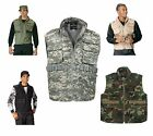 Military 8 Pocket Tactical Ranger Vest W/Hood - Black, ACU, Wood Camo, Khaki, OD