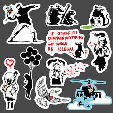 10x Banksy Ensemble autocollant vinyl le street art graffiti pochoir voiture bmx