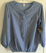 New JW Style Striped Peasant Top Tie Front Blue White Blouse Pocket 3/4 Sleeve S