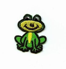 Iron On Embroidered Applique Patch Small Green Childrens Smiling Frog