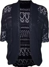 WOMENS LADIES CROCHET KNITTED SHRUG BOLERO WATERFALL CARDIGAN PLUS SIZE 16-24