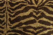 Drapery Upholstery Fabric Chenille Animal Print - Tiger in Brown and Tan
