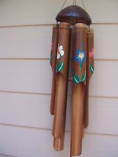 Bamboo Wind Chimes Painted Flower Half Coco Top Large Tubes FREE SHIP