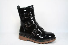 Women's Patent Faux Leather Low Heel Triple Buckle Combat Boots  Size 5.5 - 10