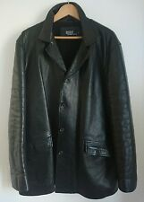 Designer Polo Ralph Lauren Black Leather & Wool Lining Jacket Size Large