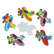 20 Mixed Wooden Novelty Aeroplane Sewing Craft Buttons 28mm Free UK P&P