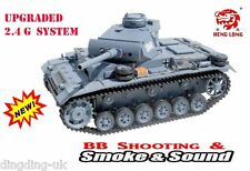 Heng Long radio control RC 2.4G System Panzer III tank 1/16 BB Shoot Smoke Sound