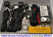 Iron Grey Colour Reverse Parking 4 Sensor Aid Kit with Audio Buzzer Alarm