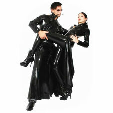Sexy Fashion Long Matrix faux Wet Look PVC Goth Coat / Dress Dominatrix Fetish