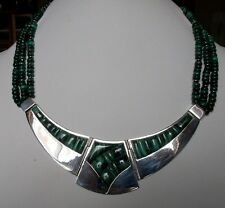 MUSEUM QUALITY JAY KING REVIVAL STERLING & MALICHITE AMAZING COLLAR NECKLACE