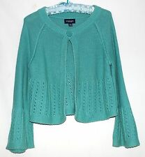 Sonoma Life + Style Turquoise Bolero Sweater with Open Cut Cuffs & Bottom Size S