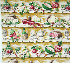 vintage 1950s lobster & kitchenalia print cotton barkcloth fabric