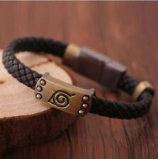 Fashion Cosplay Jewelry Leaf Gift Men's Black Leather Bracelet MarkWristband