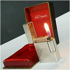 Briquet * St DUPONT Paris + box & doc * Silver.P-Lighter-Feuerzeug-Accendino