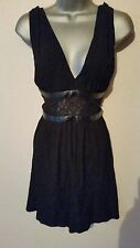 BNWT New MANGO Black Lace Leather Look Trim Fit Flare Skater Empire Dress XL 14