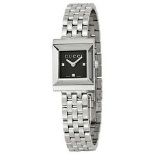 Gucci G-Frame Black Guilloche Dial Stainless Steel Ladies Watch YA128403