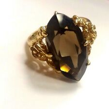 10K yellow Gold Ring Band marquise cut smoky  topaz  SZ 7 trubright