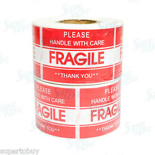 """1000 2"""" x 3"""" FRAGILE HANDLE WITH CARE Stickers, Easy Peel and Apply 2 Rolls"""