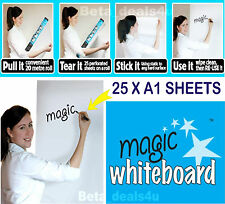 MAGIC WHITEBOARD 25 X A1 SHEETS ERASABLE PLAIN WHITE ROLL SELF STICK REUSABLE