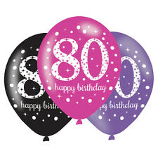 6 x 80th Birthday Balloons Black Pink Lilac Party Decorations Age 80 Balloons