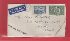 10c E9 green special delivery air mail cover Canada