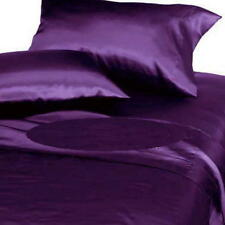Soft Silk Feel Polyester Satin Sheet Set (Fitted+Flat+Pillow Cases) Queen Purple