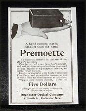 1907 OLD MAGAZINE PRINT AD, PREMOETTE, HAND CAMERA THAT IS SMALLER THAN A HAND!