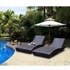 "79"" Adjustable Furniture PE Wicker Pool Chaise Outdoor Patio Lounge Rattan Chair"