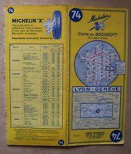 carte MICHELIN 74 LYON - GENEVE 1965