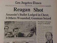VINTAGE NEWSPAPER HEADLINE ~U.S. PRESIDENT RONALD REAGAN GUN SHOT BRADY WOUNDED~