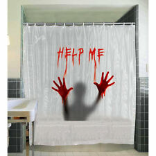 Creepy Shower Curtain Bloody Help Me Halloween Party Decoration