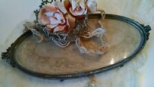 Shabby antique vtg Net lace tray victorian apollo vanity french style