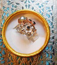 Superbe bague ancienne Art Nouveau vintage or rose argent saphir aigue-marine
