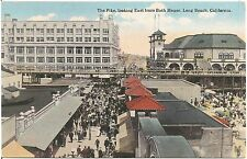 The Pike Looking East From Bath House in Long Beach CA Postcard