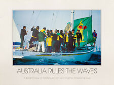AUSTRALIA RULES THE WAVES - America's Cup 1983 poster, signed by the artist