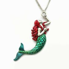 Mermaid Necklace - Red Hair and Green Tail Fantasy Fish Sea Woman Siren Pendant