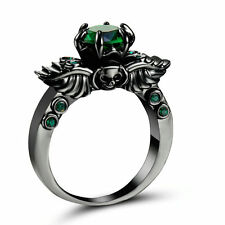 Rhodium Black Gold Plated ring Size 9 Wedding Engagement Emerald Anniversary