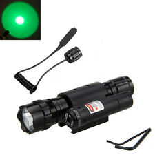 Tactical 4000Lm Green Lamp LED Red Laser Dot Sight Scope Flashlight Torch Mount
