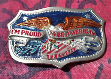 PROUD TO BE AN AMERICAN BELT BUCKLE NEW