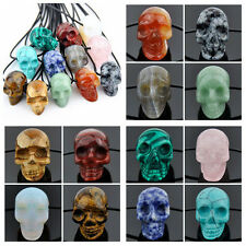 LOT 12 PCS Natural Stone carved Skull pendant Necklace gift XL387