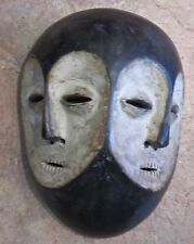 "Vintage African Lega Bwami Mask/ White, Koalin Double Face/10""H x 7""W x 4""D"