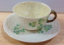 RARE Belleek Green Shamrock Yellow Cup & Saucer 3rd Black Mark Basketweave