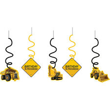 CONSTRUCTION Zone DANGLERS Hanging Swirls Birthday Party Supplies Decoration