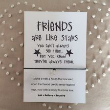 Friendship Friends Are Like Stars Card Wish String Charm Bracelet Gift Tag #30A