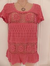 Fat Face peach crocheted top with buttons up the back, approx. UK 8-10