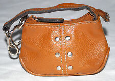 Studded Brown Faux Leather Zipper Coin Purse & Key Ring w/ Cloth Flowered Lining